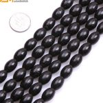 Gem-inside Natural Olivary Black Rice Shape Coral Beads For <b>Jewelry</b> <b>Making</b> 9x12mm 15inches DIY Jewellery