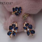 PATAYA <b>Fashion</b> Dark Blue Water Drop Natural Zircon Earrings Up Open Rings Sets 585 Rose Gold Exclusive Design Women Fine <b>Jewelry</b>