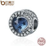 BAMOER 925 Sterling Silver Sparking Sky Star & Moon Big Stone Clear CZ Beads fit Charm Bracelet Necklaces DIY <b>jewelry</b> SCC383