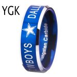 YGK BRAND <b>JEWELRY</b> Hot Sales 8MM Dallas Cowboys Design Men's Blue With Silver Bevel EdgeTungsten Comfort Fit Ring for Wedding