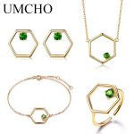 UMCHO Natural Diopside Gemstone Jewelry Set Real 925 Sterling <b>Silver</b> Necklace Ring <b>Earrings</b> Bracelet For Women Fine Jewelry
