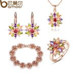 BAMOER 3 Colors Rose Gold Color Bridal <b>Jewelry</b> Sets & More for Women Wedding with High Quality AAA Zircon