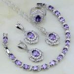 Purple Cubic Zirconia White Crystal 925 Sterling <b>Silver</b> Jewelry Sets For Women Wedding Earrings/Pendant/Necklace/<b>Bracelet</b>/Ring