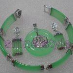 Women's Wedding Beautiful Green gem Bracelet Earring Pendant Fashion <b>Jewelry</b> Set #B42 silver-<b>jewelry</b> Natural boucle