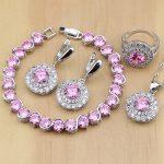 925 <b>Silver</b> Jewelry Pink Zircon Stones White CZ Jewelry Sets For Wedding Earrings/Pendant/Necklace/Rings/<b>Bracelet</b>