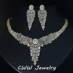 Gold Color African Cubic Zirconia Wedding <b>Jewelry</b> Sets Large Tassel Drop Women <b>Necklace</b> And Earrings Set For Evening Party T204