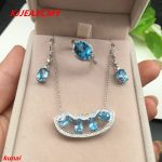 KJJEAXCMY boutique jewels 925 Sterling <b>Silver</b> with natural stone Blue Topaz Ring Pendant <b>Earrings</b> 3 suit send Necklace cfhbv