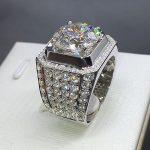 <b>Handmade</b> <b>Jewelry</b> Men Fashion White Gold Filled rings Round cut 4ct Diamonique 5A Cz Engagement wedding band ring for men bijoux