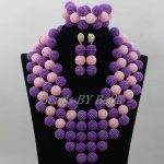 Hot Sale Purple Beads Bridal <b>Jewelry</b> Sets <b>Handmade</b> Balls Necklace Set Nigerian Wedding African <b>Jewelry</b> Set Free Shipping ABF763