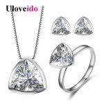 Uloveido <b>Jewelry</b> Sets Silver 925 <b>Jewelry</b> Wedding Decorations Jewellery Triangle Ring Earrings <b>Necklace</b> Set with Box 40%Off LT001
