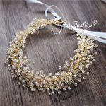 Wedding hair accessories handmade beaded bridal hair <b>jewelry</b> gold head band crystal headdress leaf headpieces leaves headband