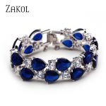 ZAKOL Classic White /Rose Gold Color Mona Lisa Bracelets Bangles with Multicolor Zircon Stone <b>Fashion</b> <b>Jewelry</b> for Women FSBP004