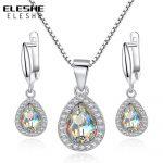 ELESHE 2017 Fashion 925 Sterling Silver Water Drop Pendant <b>Necklace</b> Earrings for Women Austrian Crystal Wedding <b>Jewelry</b> Sets