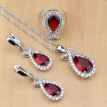 Mystic Red Cubic Zirconia 925 Silver <b>Jewelry</b> Sets For Women Wedding <b>Accessories</b> Earrings/Pendant/Necklace/Rings