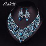 Luxury Women Blue Flower Wedding Bridal <b>Jewelry</b> Set Hollow Leaves Crystal <b>Necklace</b> Earring <b>Jewelry</b> Set