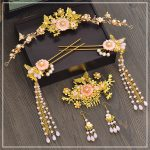 retro Chinese bride headdress tassle hairpins wedding hair <b>jewelry</b> pink flower gold Coronet hair pins comb earrings sets