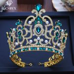 CC big tiaras and crowns hairbands engagement <b>wedding</b> hair accessories for bridal queen <b>jewelry</b> green cz luxury pageant XY206