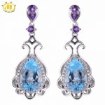 Hutang Stone <b>Jewelry</b> 6.78ct Natural Gemstone Sky Blue Topaz & Amethyst Solid 925 <b>Sterling</b> <b>Silver</b> Romantic Earrings Fine <b>Jewelry</b>