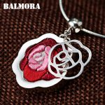 BALMORA 100% Real 990 Pure Silver <b>Handmade</b> Rose Flower Hollow Pendants for Women Mother Gifts Without a Chain <b>Jewelry</b> SY14375
