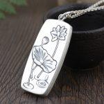 FNJ 925 <b>Silver</b> Buddha Pendant Fashion Lotus Flower Flat 100% Original S990 Thai <b>Silver</b> Pendants for Women Men <b>Jewelry</b> Making