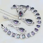 Mystic Rainbow Fire Cubic Zirconia White CZ 925 <b>Silver</b> Jewelry Sets For Women Party Necklace/Earrings/Pendant/Ring/<b>Bracelet</b>