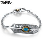 ZABRA 925 <b>Sterling</b> <b>Silver</b> Fashion Zircon Stone Feather Bracelet Bangle Men Women Vintage Punk Rock Handmade Mens <b>Jewelry</b>