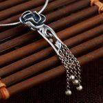 FNJ 925 Silver Flower Pendant Tassel 100% Pure S925 Solid Thai Silver Pendants for Women Men <b>Jewelry</b> <b>Making</b>