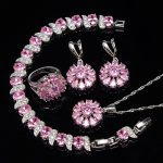 Pink Zircon <b>Silver</b> 925 Bridal Jewelry Sets Women Earrings With Stones Rings Pendant&Necklace <b>Bracelets</b> Set of Jewelery Gift Box
