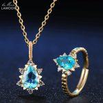LAMOON Teardrop Apatite Chain Pendant&Rings Women 925 Sterling <b>Silver</b> Fine Jewelry 14K Yellow Gold Bridal Jewelry Sets V032-2