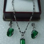 Women's Wedding wholesale fine match green crystal semi-precious earrings pendant & ring(#7.8.9) set real silver mujer