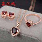 925 sterling <b>silver</b> with natural garnet jewelry suit ring necklace pendant <b>earrings</b> Colored gems