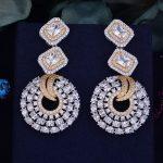 GODK 61mm Luxury Princess Round Full Mirco Cubic Zirconia Naija <b>Wedding</b> Women Earring Fashion <b>Jewelry</b>