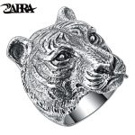 ZABRA Authentic 925 <b>Sterling</b> <b>Silver</b> Cool Tiger Big Ring for Mens Vintage Punk Retro Domineering Finger Gothic Ring Men <b>Jewelry</b>