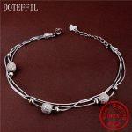 New Sale 925 Sterling <b>Silver</b> Women Charm <b>Bracelet</b> Fashion Round AAA Zircon 100% <b>Silver</b> <b>Bracelets</b> Brand luxury Feminine Jewelry