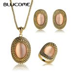 Blucome Vintage Long Necklace Earrings Rings <b>Jewelry</b> Sets Simulated Opal Bijoux Women Party Banquet Wedding <b>Accessories</b> Gifts