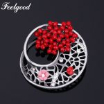 Feelgood Fashion Rhinestone Red Flower Brooch <b>Jewelry</b> <b>Antique</b> Silver Color Metal Hollow Geometric Vintage Brooches For Women