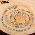 ZABRA Vintage Solid 925 <b>Sterling</b> <b>Silver</b> High Polished Long Link Chain Necklaces For Men Retro Thai <b>Silver</b> Rock Fashion <b>Jewelry</b>