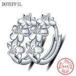 Genuine 925 Sterling Silver <b>Fashion</b> <b>Jewelry</b> Three Flower Hoop Earrings For Women Girl 2018 Hot Sale