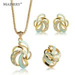Madrry Dubai <b>Jewelry</b> Sets Enamel Flower <b>Necklace</b> Earrings Ring For Women Lady Party Bijoux Gold Color Chain Pendant Max Brincos