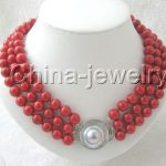Charming AAAA 19″ 3row 8mm perfect round red shell <b>necklace</b> – <b>silver</b> blister ^^^@^Noble style Natural Fine jewe FREE SHIPPING