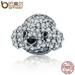 BAMOER Authentic 925 Sterling Silver Cute Animal Teddy Head Crystal CZ Charm Beads fit Charm Bracelet <b>Jewelry</b> <b>Making</b> Gift SCC152