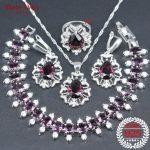brown Bridal <b>Silver</b> 925 Luxury Costume Jewelry Sets For Women Necklace Pendant <b>Bracelet</b> Stone Earrings Rings Set Gift Box
