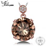 Jewelrypalace Luxury 6ct Natural Smoky Quartz Round Pendant <b>Necklaces</b> For Women Solid 925 Sterling <b>Silver</b> 45cm Box Chain Jewelry
