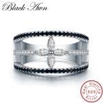[BLACK AWN] Real 925 Sterling <b>Silver</b> Black Spinel Four-leaf Flower Finger Elegant Rings for Women <b>Silver</b> 925 <b>Jewelry</b> Gift G004
