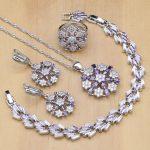 Flower Shaped <b>Silver</b> 925 Jewelry Sets Purple Zircon White Crystal Beads For Women Earrings/Pendant/Rings/<b>Bracelet</b>/Necklace Set