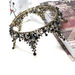 Baroque Princess Handmade Black Crystal Big Round Crown Tiara Bridal Hair <b>Jewelry</b> Wedding Hair Accessories Headbands For Women