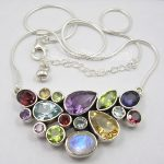 Chanti International Solid <b>Silver</b> Natural MULTISTONE COLORFUL Snake Chain <b>Necklace</b> 18 1/4 Inches