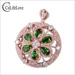 Classic gemstone round <b>necklace</b> pendant natural chrome diopside pendant solid <b>silver</b> russian emerald pendant girl romantic gift