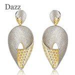 Dazz Luxurious Heart Shape Large Drop Earrings Full Cubic Zircons Two Tones Colors Copper Earrings Women Party <b>Wedding</b> <b>Jewelry</b>