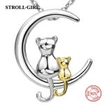 2018 hot sale sterling silver 925 two lovely cats pendant chain necklace diy European fashion <b>jewelry</b> <b>making</b> for women gifts